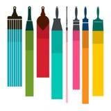 Escovas com borrões coloridos da pintura ilustração stock