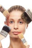 Escovas, composição e face imagem de stock