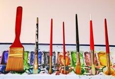 Escovas da aguarela Imagens de Stock