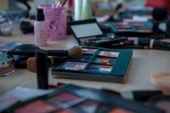 Escovas da composição e ferramentas profissionais, grupo de produtos da composição Imagem de Stock