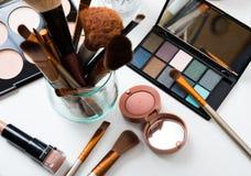 Escovas da composição e ferramentas profissionais, grupo de produtos da composição Fotografia de Stock Royalty Free