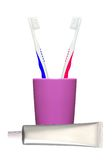 Escovas de dentes no vidro e no dentífrico isolados no branco Fotografia de Stock