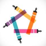 Escovas de pintura coloridas com cursos da escova Imagem de Stock