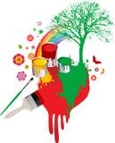 Escovas de pintura com cubetas Fotos de Stock Royalty Free