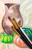 Escovas de pintura com pintura das aquarelas Imagens de Stock Royalty Free