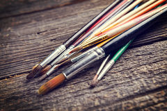 Escovas de pintura de Aristic Foto de Stock Royalty Free