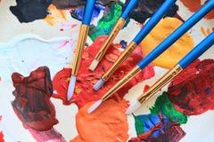 Escovas de pintura do artista Foto de Stock Royalty Free