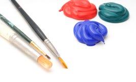 Escovas de pintura e pintura Imagens de Stock