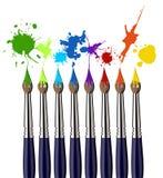 Escovas de pintura e respingo da cor Imagem de Stock