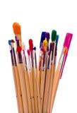 Escovas de pintura no branco Fotos de Stock