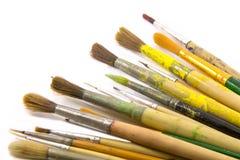 Escovas de pintura no fundo branco Foto de Stock Royalty Free
