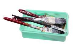 Escovas de pintura velhas Fotos de Stock Royalty Free