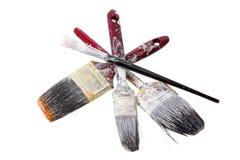 Escovas de pintura velhas Imagens de Stock Royalty Free