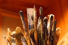 Escovas do artista imagens de stock royalty free