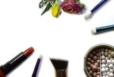 Escovas do batom e da composição fotografia de stock