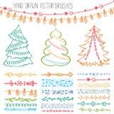 Escovas do feriado Grupo da garatuja do Natal colorido ilustração royalty free