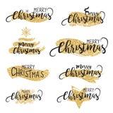 Escovas do Natal e fundo de brilho do texto no vetor Fotografia de Stock Royalty Free