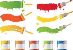 Escovas do rolo e de pintura do vetor Foto de Stock Royalty Free