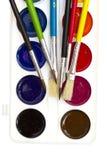 Escovas e aguarelas Fotografia de Stock Royalty Free