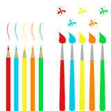 Escovas e lápis Imagens de Stock