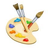 Escovas e paleta com pinturas Imagem de Stock Royalty Free