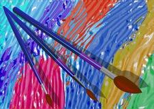 Escovas e pintura Imagem de Stock Royalty Free