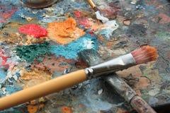 Escovas e pinturas Fotos de Stock