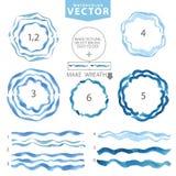 Escovas onduladas da aquarela, quadro do círculo Mar ciano, azul verão ilustração royalty free