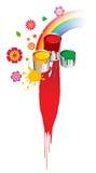 Escovas, pintura, cubetas, flores e arco-íris Fotografia de Stock