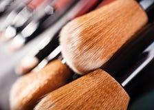 Escovas profissionais dos cosméticos Fotografia de Stock