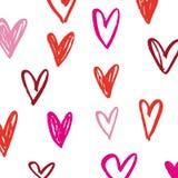 Escove corações tirados mão Valentim \ 'tema do dia de s, elementos do projeto ilustração stock
