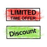 Escove o curso, etiquetas da etiqueta da oferta e do disconto, a vermelha e a verde do tempo limitado Ponto stratched retângulo Fotografia de Stock