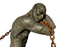 Escravo Carrying uma corrente, isolada no fundo branco imagem de stock royalty free