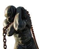 Escravo Carrying uma corrente, isolada no fundo branco foto de stock