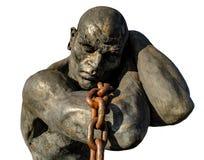 Escravo Carrying uma corrente, isolada no fundo branco foto de stock royalty free