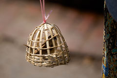 Escravo do pássaro na gaiola de bambu fotografia de stock
