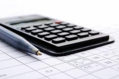Escreva e a calculadora Fotos de Stock Royalty Free