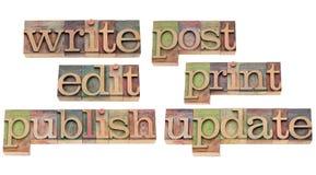Escreva, edite, publique, actualize Imagem de Stock