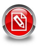 Escreva no botão redondo vermelho lustroso do ícone da página Fotos de Stock