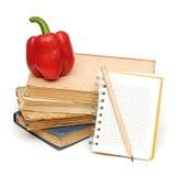Lápis no caderno imagens de stock
