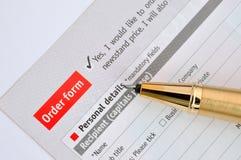 Escreva no formulário de pedido foto de stock royalty free