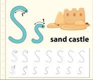 Escreva o castelo da areia da letra s ilustração stock