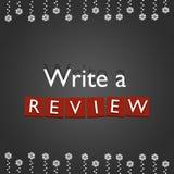 Escreva um conceito da revisão no fundo do metal e nas luzes dos xmass Imagens de Stock