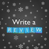 Escreva um conceito da revisão no fundo e nos flocos de neve do metal Foto de Stock Royalty Free