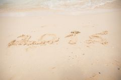 2015 escrevem na areia branca Fotos de Stock