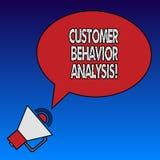 Escrevendo a análise do comportamento do cliente da exibição da nota Comportamento de compra apresentando da foto do negócio dos  ilustração royalty free