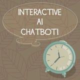 Escrevendo a exibição da nota Ai interativo Chatbot Programa informático apresentando da foto do negócio que simula a conversação ilustração stock