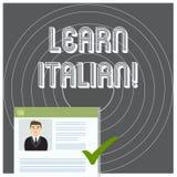 Escrevendo a exibição da nota aprenda italiano Ganho apresentando da foto do negócio ou para adquirir o conhecimento de falar e d ilustração stock
