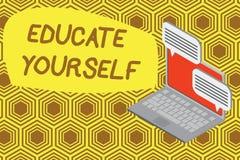 Escrevendo a exibição eduque você mesmo da nota Apresentar da foto do negócio prepara-se oneself ou alguém em uma área particular ilustração stock
