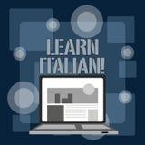 Escrevendo a exibi??o da nota aprenda italiano Ganho apresentando da foto do neg?cio ou para adquirir o conhecimento de falar e d ilustração do vetor